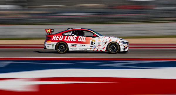 The No. 82 Redline SRO BMW M4 GT4 on track at COTA