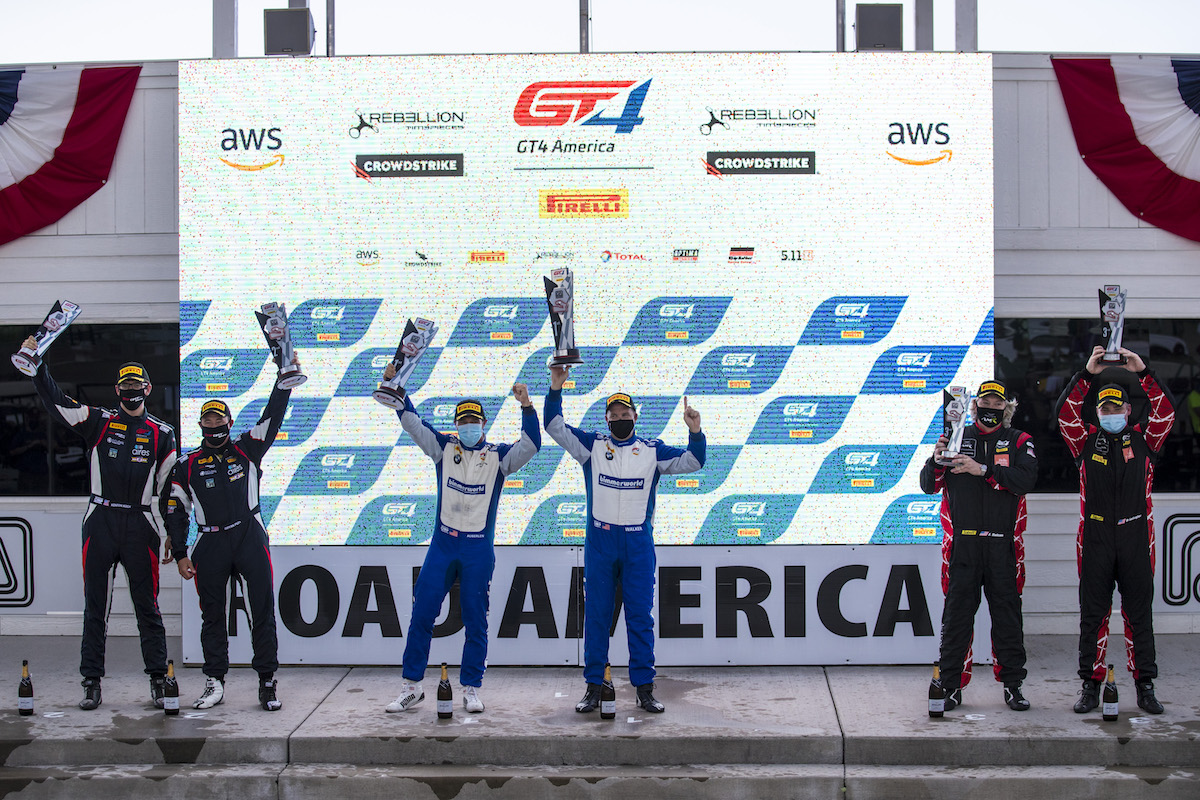 BIll Auberlen and James Walker, Jr. on the podium at Road America