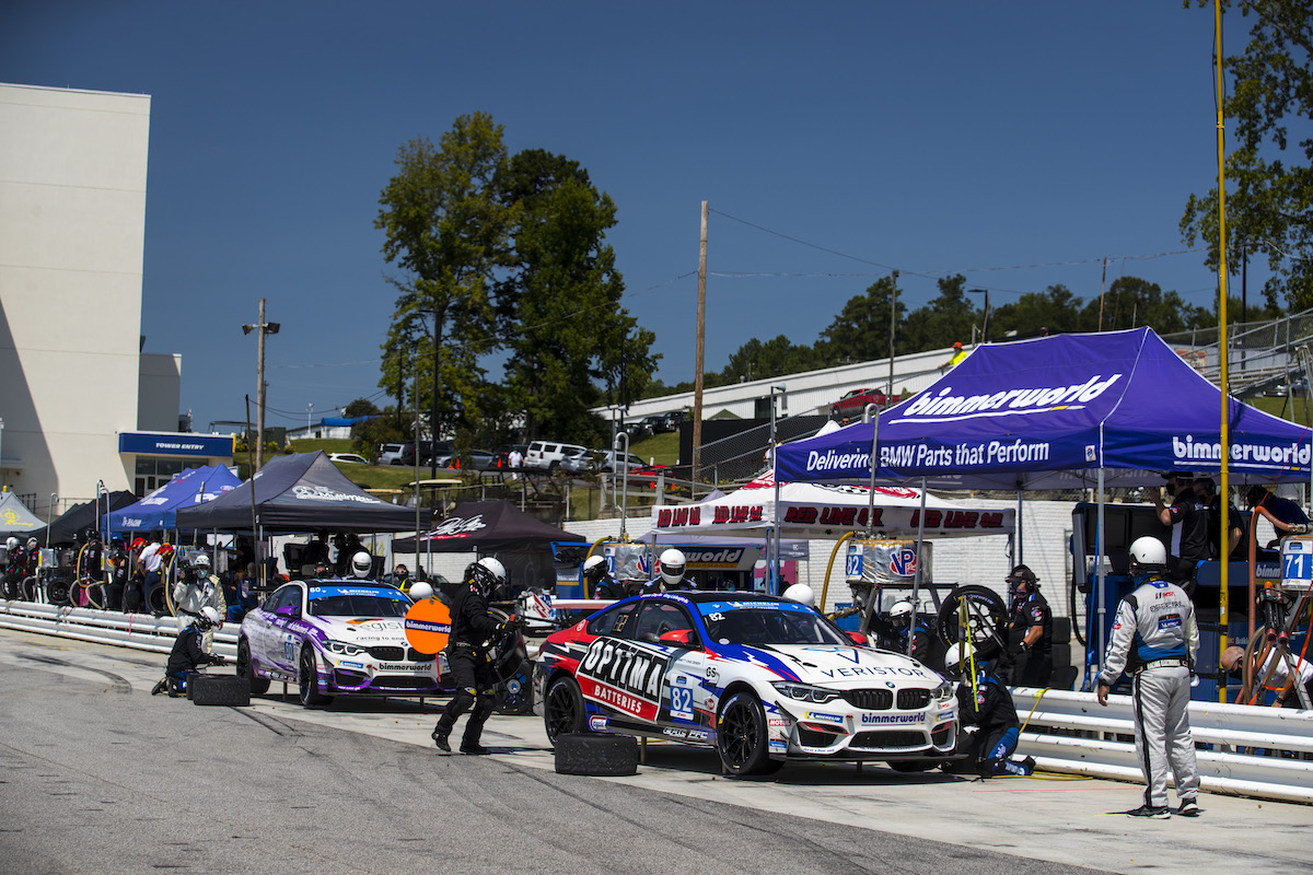 BimmerWorld Racing M4 GT4s  during pitstops at Road Atlanta