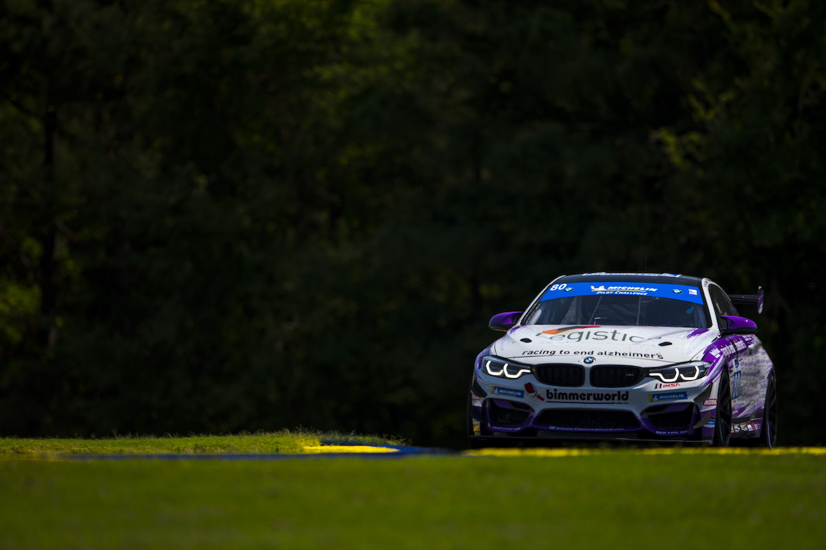 No. 80 BimmerWorld M4 GT4 charging hard at Road Atlanta