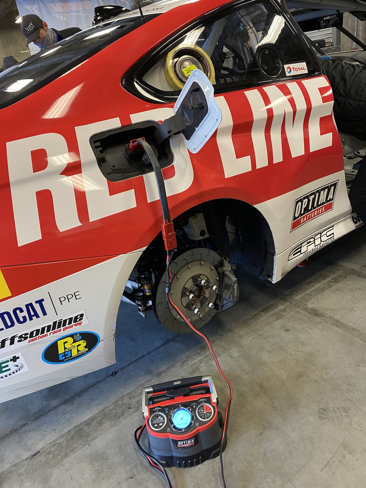 OPTIMA Battery getting charged in BMW M4 GT4 at Indy