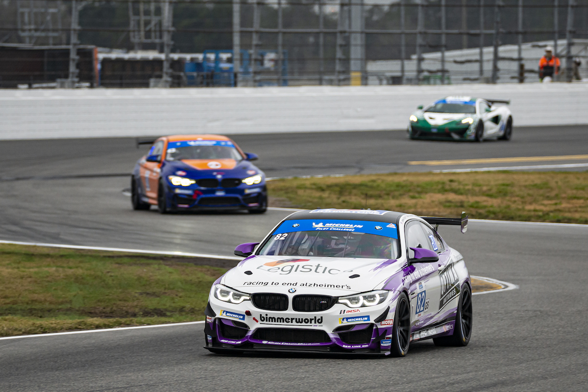 BMW M4 GT4 in turn BimmerWorld Racing - IMSA Michelin Pilot Challenge - Daytona International Speedway