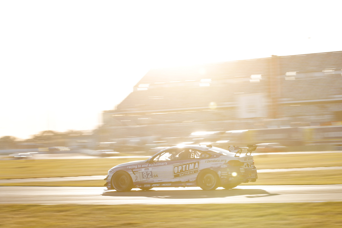 Sun glare on BMW M4 GT4 BimmerWorld Racing - IMSA Michelin Pilot Challenge - Daytona International Speedway