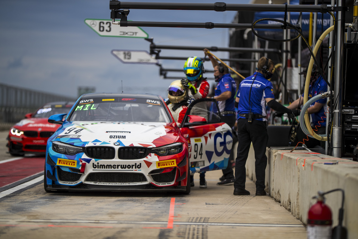 No. 94 BimmerWorld TAC Energy M4 GT4 in the pits during a driver change