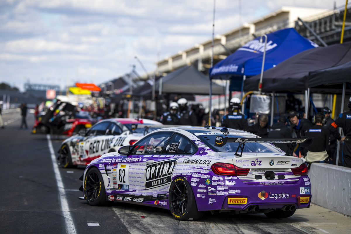 BimmerWorld cars in the pits before race start at Indy 2021