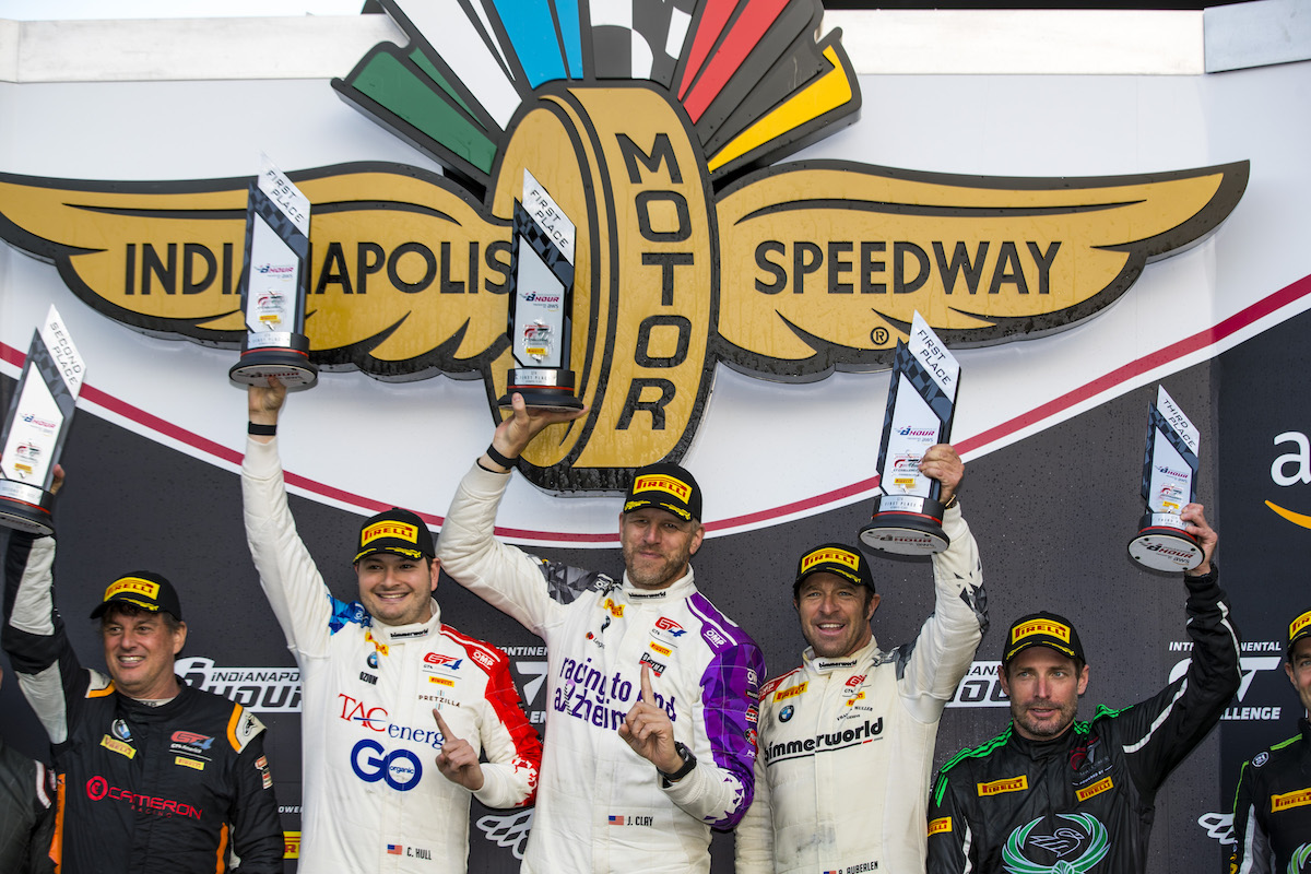 Hull, Clay, Auberlen on podium with first-place trophies at Indy 8-hour 2021